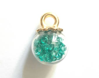 Charm pendant 23 x 16 mm blue green rock filled glass globe