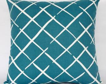 "18 x 18"" Teal Mid Century Modern Pillow Cover - Designer Fabric- Accent Pillow - Designer Throw Pillow"