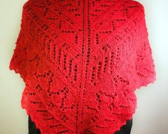 Red triangular lace shawl, Hand knitted triangular shawl, Women's lace shawl