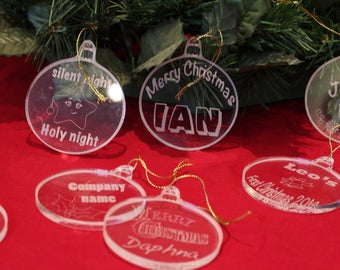 Personalised Crystal Clear Acrylic Laser Etched Christmas Tree Decoration.