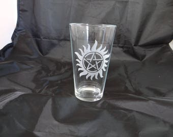 Supernatural Custom Etched Pint Glass