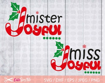 Christmas SVG, Mister Joyful candy cane svg, Joyful Snowflake Svg File, Cutting Files, Winter Svg, Silhouette Cameo or Cricut