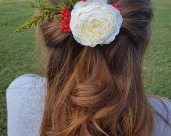White flower hair comb