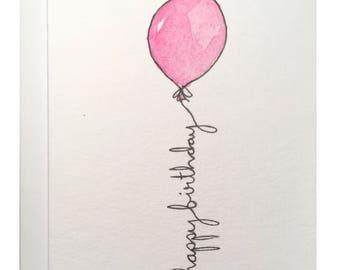 Red Balloon Birthday card