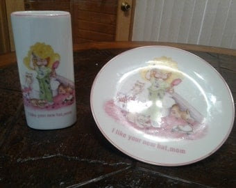 Avon plate and vase
