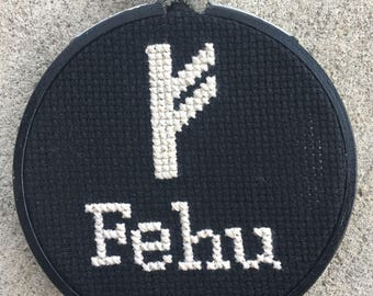 "Fehu Runic Wall Hanging - 3.5"" Framed"