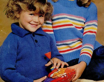 Children's Jumpers, 2x Knitting Patterns, Instant Download.