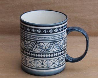 Coffee Mug in Blue Marli Pattern