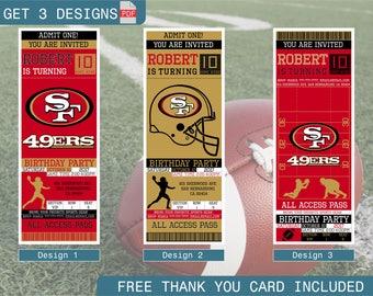 San Francisco 49ers Birthday Invitation, Printable Ticket Party Invitation, Football Personalized Birthday Invite, Digital Files