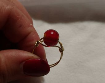 Red and Gold Ring, size 8