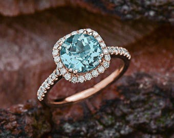 Aquamarine Engagement Ring Rose Gold, Aquamarine Halo Engagement Ring, Rose Gold Halo Engagement Ring Aquamarine, Engagement Ring Rose Gold