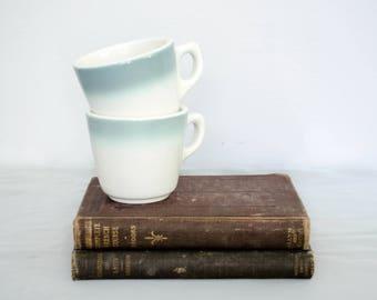 vintage buffalo china / heavy dinerware mugs / blue and white mugs