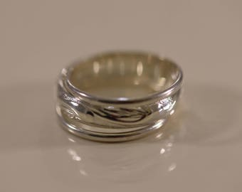 Sterling Silver Wave Pattern 3-Ring Set, Unique Silver Band Ring, Solid Silver Rings, Classic Silver Bands