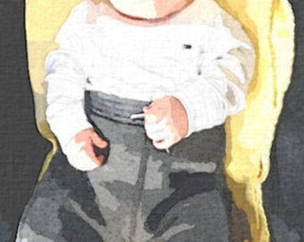 Custom Baby Portrait, Child, Children, Watercolor, Realistic, Fine Art, Personalized, Traditional