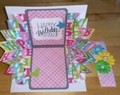 Birthday, Card, 3-D, Explosion, Pop Up, BDay, Feminine, Handmade, 3D, Pop-Up, Folded, Pink, Bright