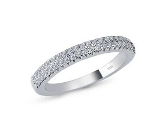 925 solid sterling silver half eternity cz wedding band rhodium plated comfort fit promise engagement wedding - Cz Wedding Rings