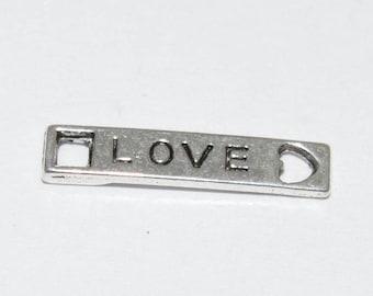 20 connectors love 22x4.5mm antique silver