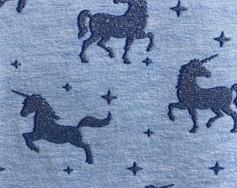 Cotton Jersey fabric, leggings fabric, unicorn jersey, glitter unicorn jersey, glitter fabric, fabric for leggings and tops by the metre