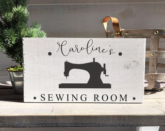sewing room sign-personalized sign-sewing room-sewing decor-vintage sewing machine decor-farmhouse-farmhouse decor-farmhouse sign