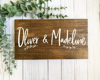 wedding sign-valentine's day gift-wedding gift-anniversary gift-personalized sign-wood sign-wooden sign-personalized name sign-dark wood