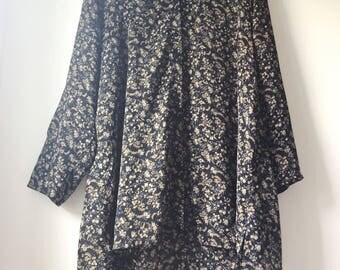 Plus-size vintage floral shirt/dress Jytte Meluang B.B