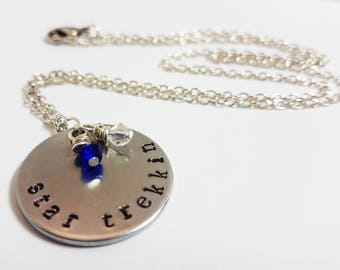 Star Trek Necklace Star Trekkin Jewelry Federation Captain Hand Stamped Metal Geek Nerd Necklace
