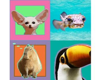 "Fun Animal Magnets, 2 x 2"" Fridge Magnets, Fennec Fox ~ Pufferfish ~ Capybara ~ Toucan, Stocking Stuffers, Small Christmas or Birthday Gifts"