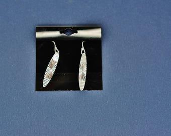 Sterling Silver Fancy Dangling Feather Surfboard French Wire Earrings