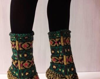 Knitted socks. Handmade. Jacquard.