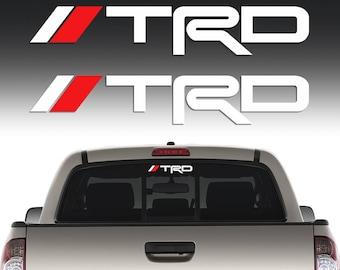 TRD Sticker Decal Windshield Rear Mirror Window Toyota Tacoma Corolla Tundra 2 Pcs Stickers