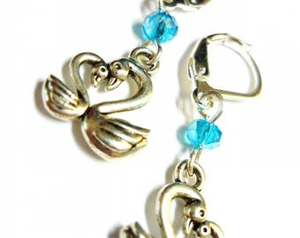 Beautiful earrings silver swans and blue beads
