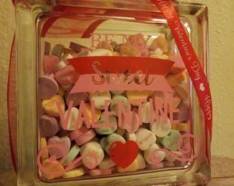 Be My Sweet Valentine Glass Block