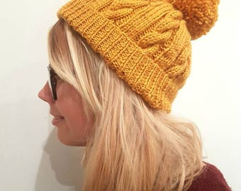 Mustard bobble hat