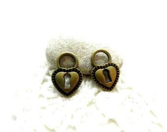 10 charms 17x12mm bronze padlock heart