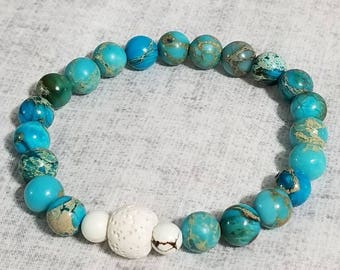 Essential Oil Diffuser Bracelet: Imperial Dyed Jasper w Howlite & Lava Stone