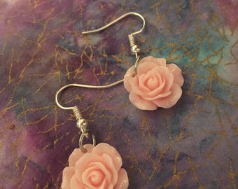 Light Pink Charm Earrings; Spring Jewelry; Flower Accessories; Delicate one of a kind earrings; Easter Earrings
