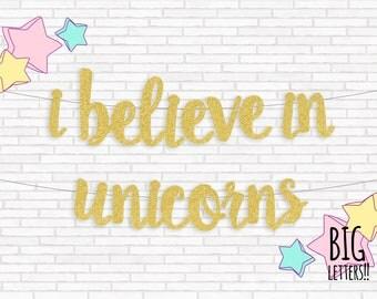 Unicorn Banner, Gold Letter Banner, Unicorn Birthday Decor, I Believe In Unicorns, Hand Writing Sign, Photo Backdrop, 1st Birthday, Shower