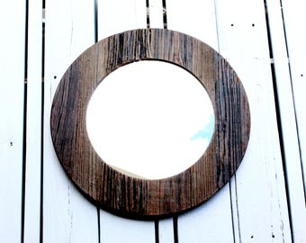 Circular Hand-Crafted Rustic Wood Mirror / rustic mirror / shabby chic mirror / reclaimed wood mirror / wooden mirror