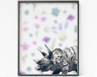 Dinosaur Printable art, nursery decor, triceratops print, dinosaur photo art, large printable, printable wall art, kids room, girls room art