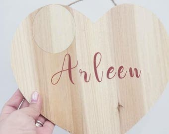 personalized hanging wood heart-valentine's day gift