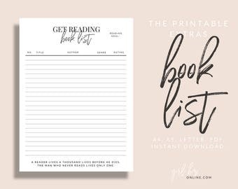 Book List - Planner Page Refills Printable | A4, A5, and US Letter
