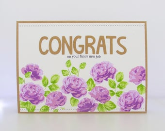 Handmade Congratulations Card - Congrats On Your Fancy New Job - Altenew Vintage Roses