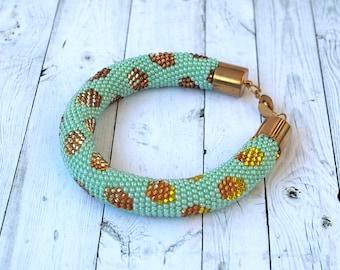 Mint gold bracelet Crochet bead rope bracelet   Gold polka dot jewelry Seed beads rope bangle Boho bracelet for women Trendy bracelet gift