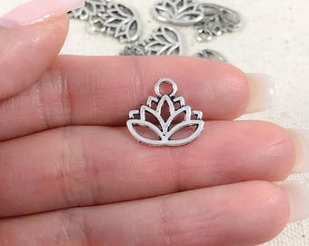 14 Silver Lotus Flower Charms | Antique Silver Charms | Silver Yoga Charms | Tranquility Charms | Lotus Flower Pendant | 16x15mm SC278