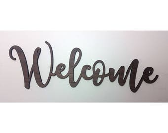 WELCOME sign, entryway decor sign, wooden word signs, word script wall, word script decor, entryway decor, entryway sign, foyer entry, foyer