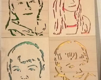 Woodcut way Pop Art portrait