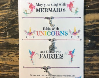 May you sing with Mermaids ride with Unicorns and dance with Fairies wish bracelet.Mermaid wish bracelet.Unicor wish bracelet. Fairies wish