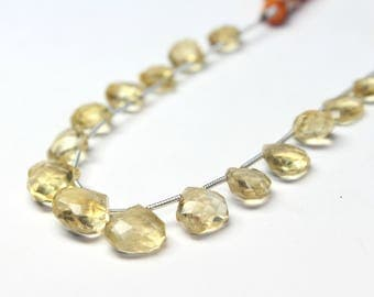 """Natural Citrine Faceted Heart drop Briolette 8X8 To 11X11 MM 6"""" Inches Strand 15 PCs Gemstone Citrine Beads #HN47"""