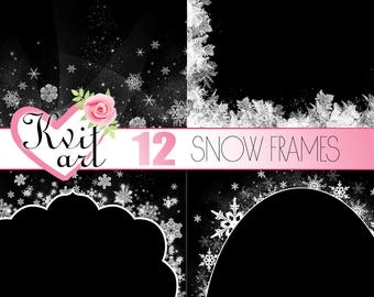 Snow Frames. Set of 12. Cute Christmas Snowfall Sparkle Overlay Clipart. Winter Snowflakes DIY Photo Decoration. Transparent Backs. White