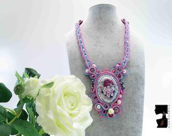 Soutaches Necklace Elegant Cameo flowers-elegant soutaches necklace-gift for her-gift for ladies-Cameo pendant-S. Valentino